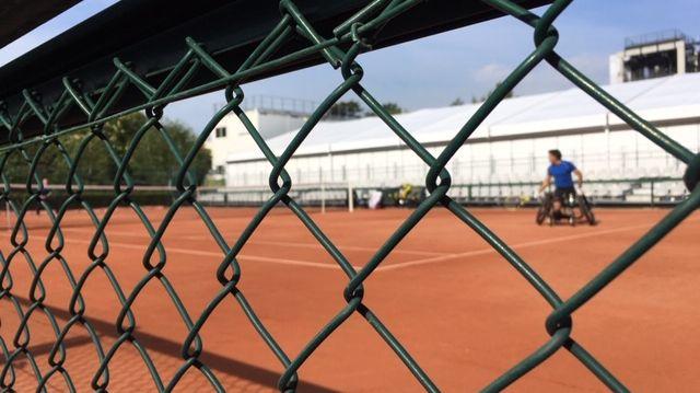 Stéphane Houdet à l'entraînement à Roland Garros, mai 2019