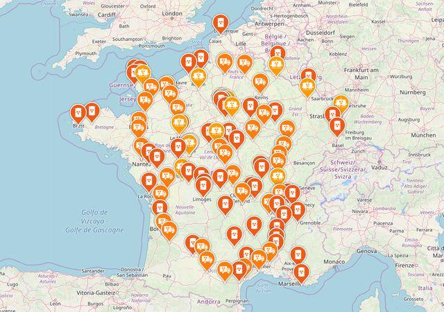 La carte des déchets nucléaires en France.
