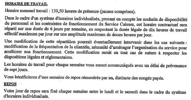 """Extrait du contrat de travail de Christelle, licenciée pour """"insubordination"""" pour avoir refusé de travailler le dimanche"""