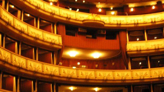 Opéra d'Etat de Vienne (détail) : les loges de face depuis le parterre
