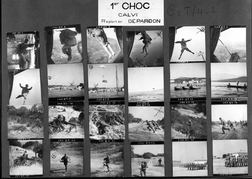 Planche contacts du reportage consacré au 1er CHOC à Calvi, Corse, 1962.