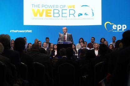 Manfred Weber, chef de file du Parti populaire européen, au cours de la campagne des élections européennes.