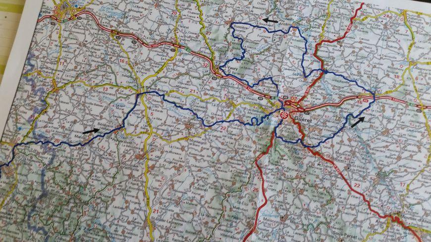La carte du passage creusois du Tour du Limousin 2019