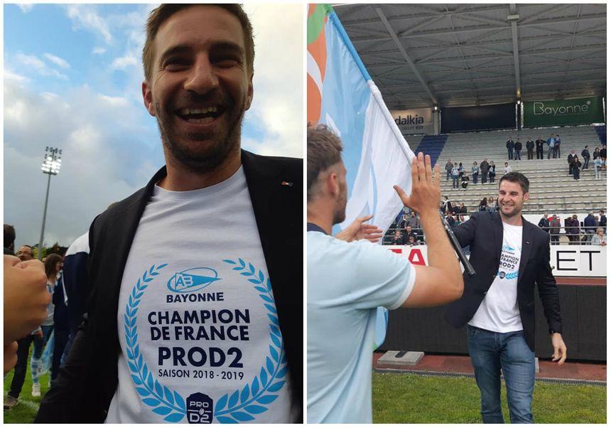 Benjamin Thiéry et John Beattie nouveaux champions de France radieux devant leurs supporters à Jean Dauger ce dimanche soir