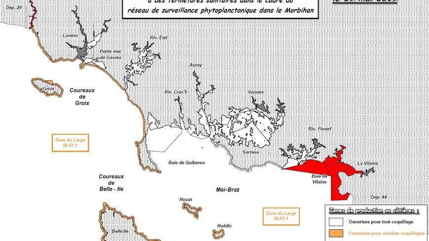 Présence de toxines lipophiles sur une partie du littoral morbihannais - Situation au 29 mai 2019