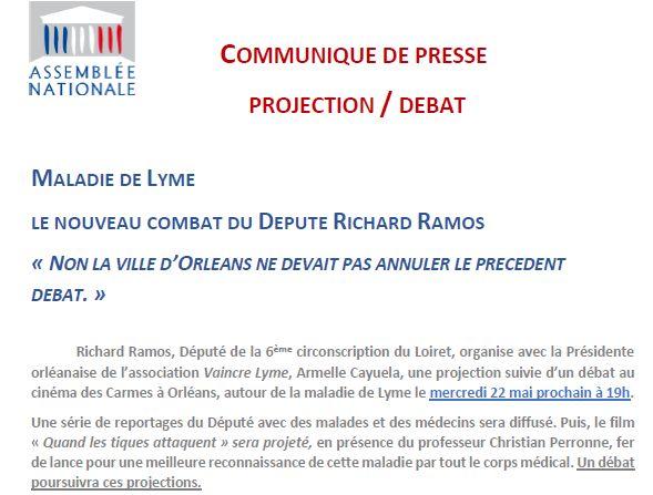 Extrait du communiqué de presse de Richard Ramos