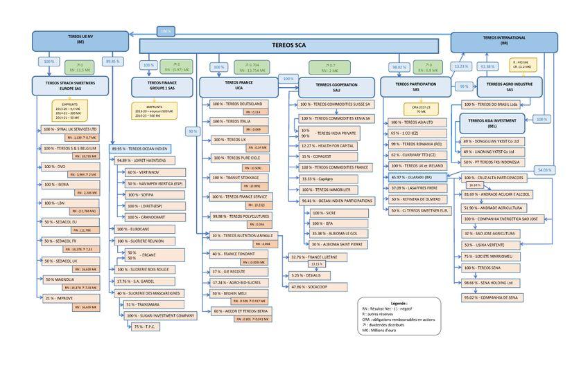 Organigramme de Tereos - Capture d'écran societe.com