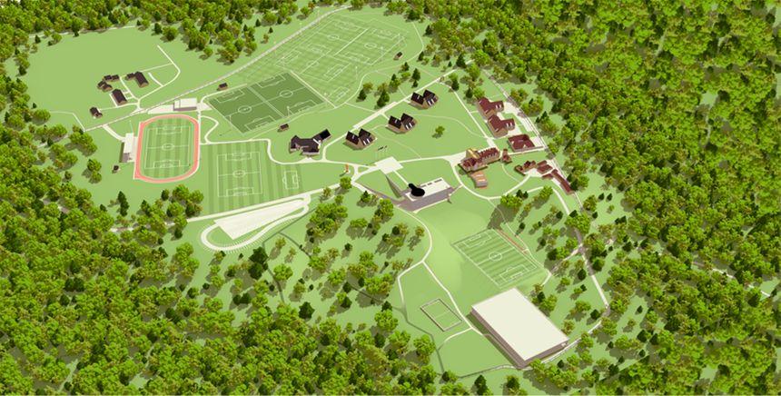 Le plan de l'institut national du football à Clairefontaine