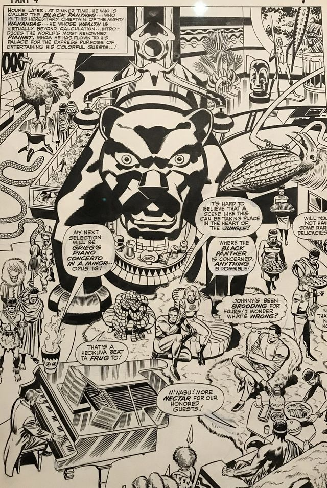 Détail d'une planche des Quatres fantastiques de Stan Lee et Jack Kirby chez Marvel, présentée dans la rétrospective Kirby à Cherbourg