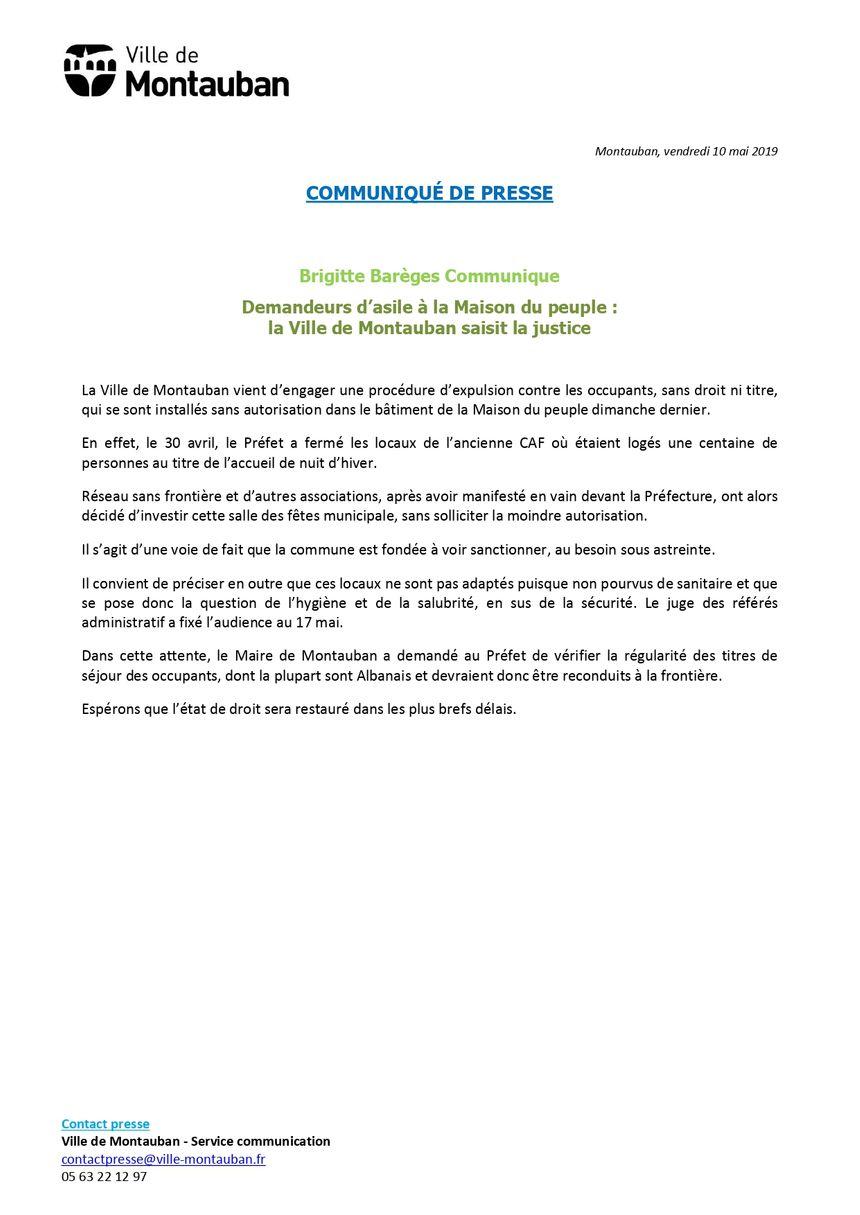 Le communiqué de la ville de Montauban.