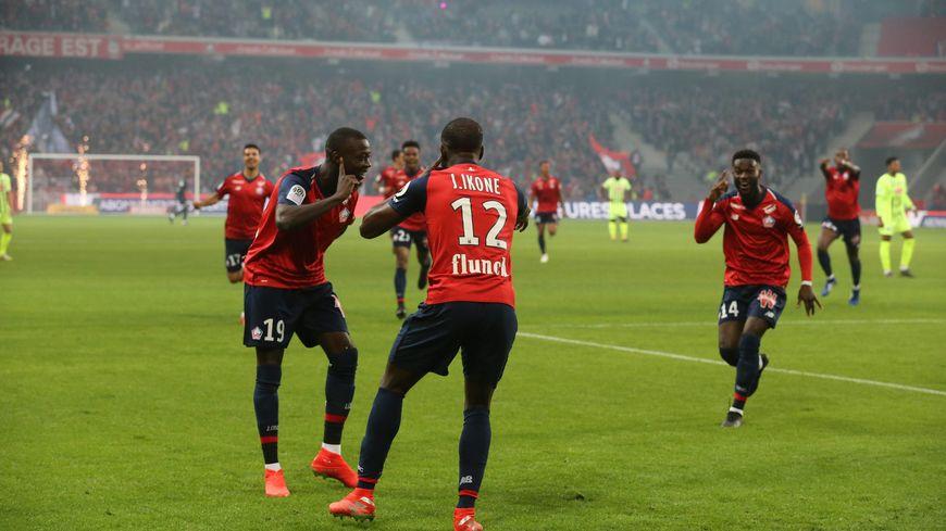 Jonathan Bamba (n°14), Jonathan Ikoné (n°12) et Nicolas Pépé (n°19) ont l'occasion, avant le départ de ce dernier, de battre ce vendredi 24 mai le record de buts sur une saison du LOSC