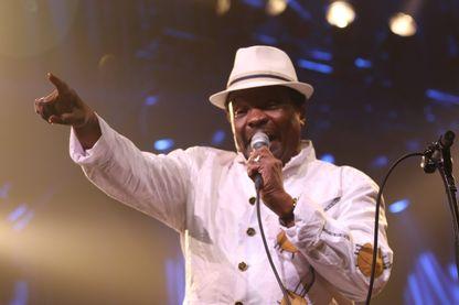 Boncana Maïga, musicien, seul membre restant et actuel de la formation originelle de Las Maravillas de Mali à Jazz in Marciac le 8 août 2018.