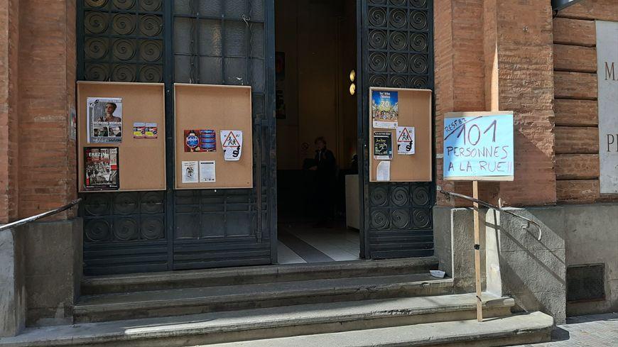 L'entrée de la Maison du peuple de Montauban
