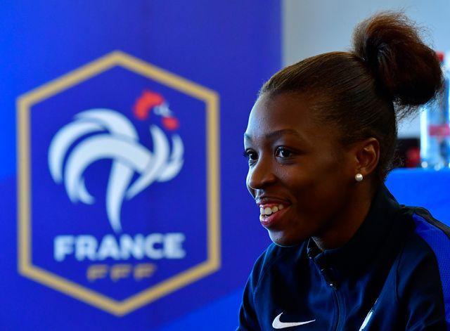 Grace Geyoro, lors d'une conférence de presse de l'Euro 2017