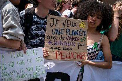 Manifestation des jeunes pour le climat à la veille de l'élection européenne à Paris en mai 2019