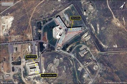 Une vue aérienne de la prison de Saydnaya en Syrie.