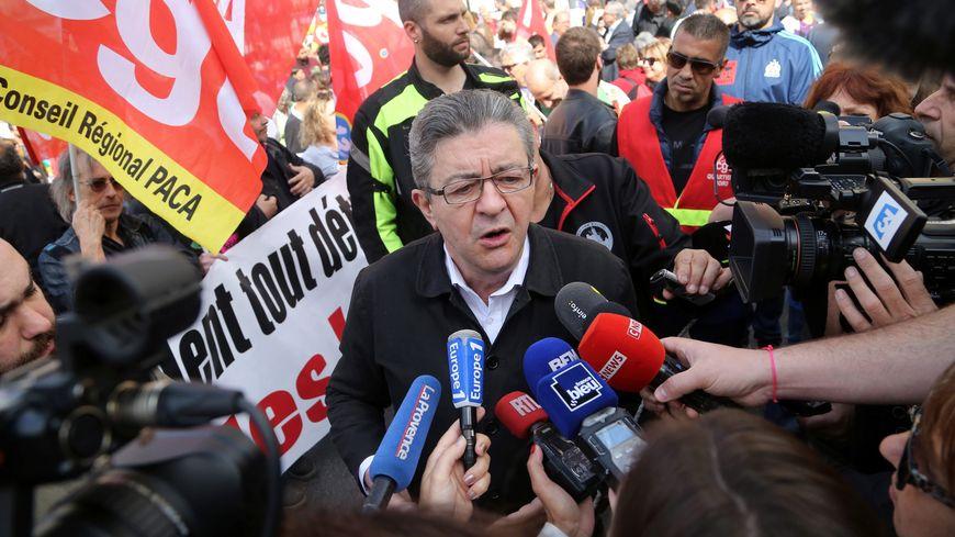 Jean-Luc Mélenchon lors de la manifestation du 1er mai 2018 à Marseille