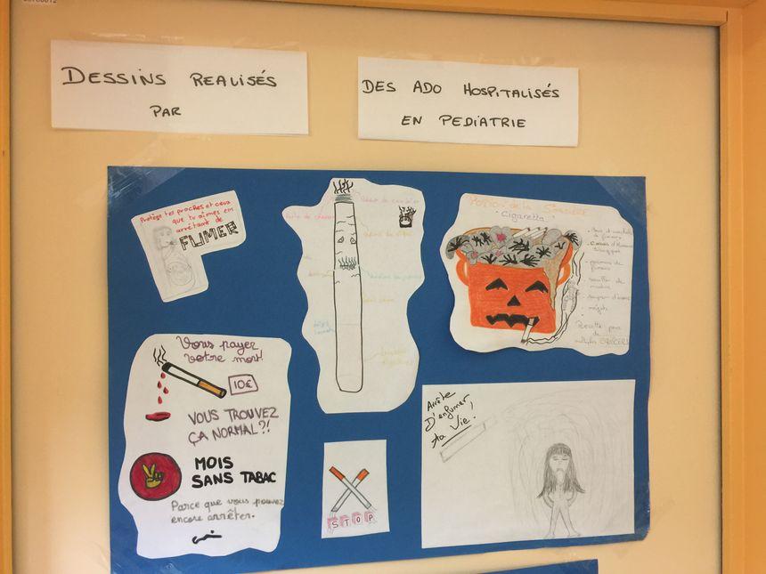 Des dessins réalisés par des enfants dans le centre de tabacologie