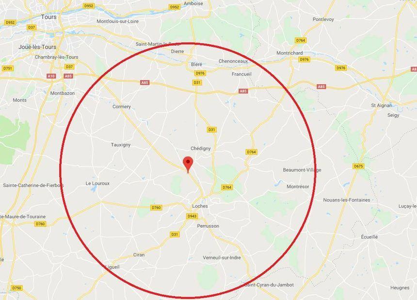 Zone supposée où le parachute et la GoPro se trouveraient