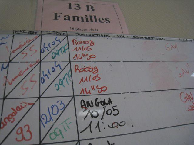 Le tableau des arrivées et des départs pour chaque retenu, chaque famille retenue