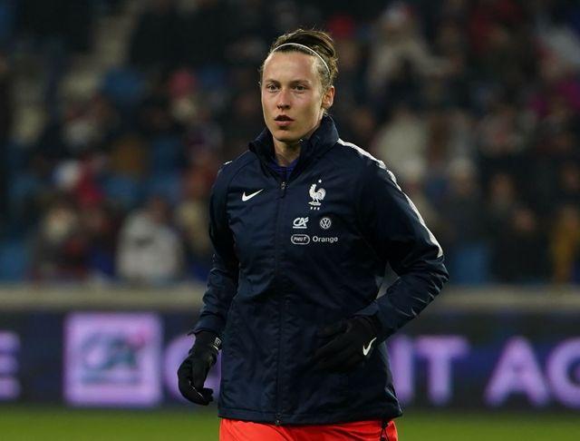 Pauline Peyraud-Magnin, lors d'un match amical France-Etats Unis au stade Océane du Havre