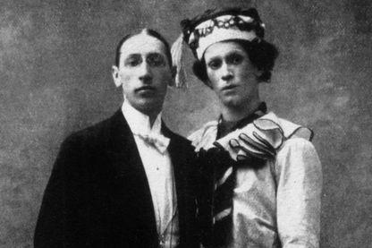 Igor Stravinsky et le danseur Vaslav Nijinski en Petrouchka, 1911