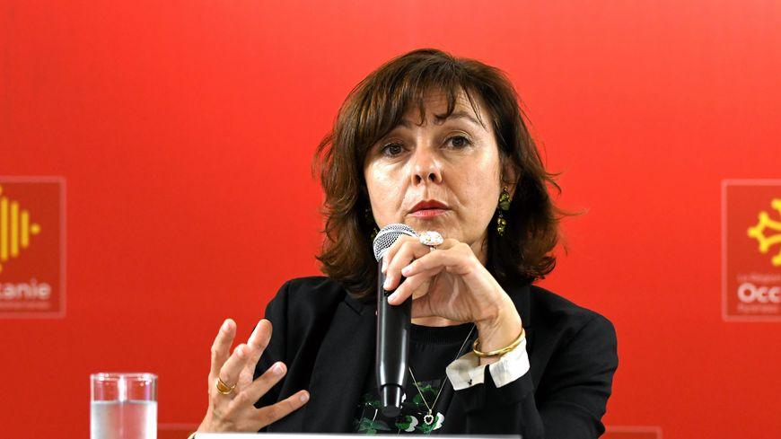 Carole Delga lors d'une conférence de presse, en 2018
