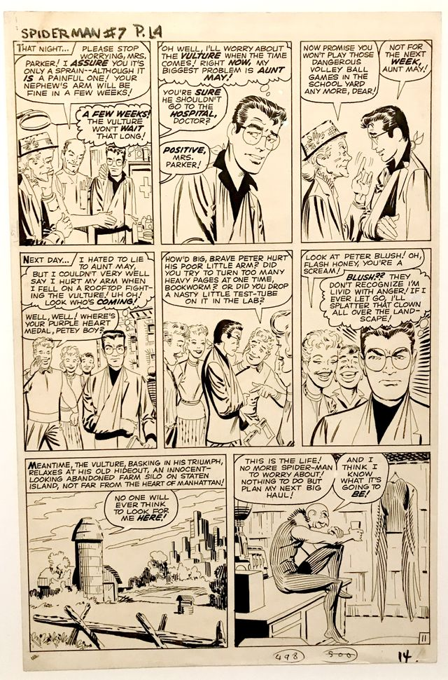 """Planche de """"Spiderman"""" (1962), premier héros de comics adolescent de Stan Lee, et Kirby puis Steve Dikto présentée dans l'exposition Kirby à Strasbourg"""