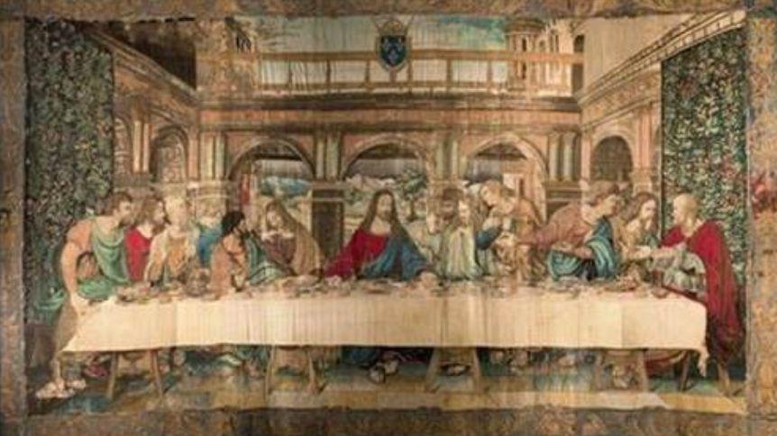 La célèbre tapisserie représentant la Cène, inspirée de l'oeuvre de Léonard de Vinci