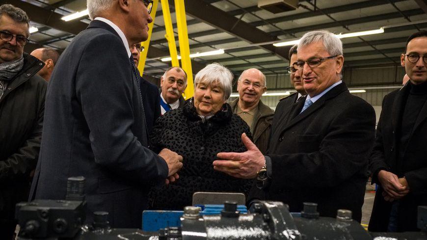 Michel Raison, sénateur LR de Haute-Saône à Lure en mars 2019, aux côtés de la ministre Jacqueline Gourault