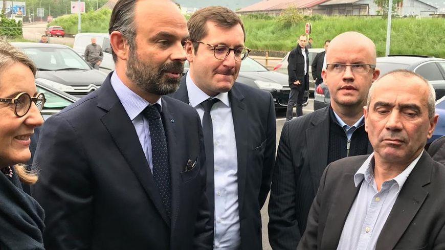 Edouard Philippe accueilli par Barbara Bessot-Ballot, Alain Chrétien, Christophe Lejeune et Emmanuel Aebischer