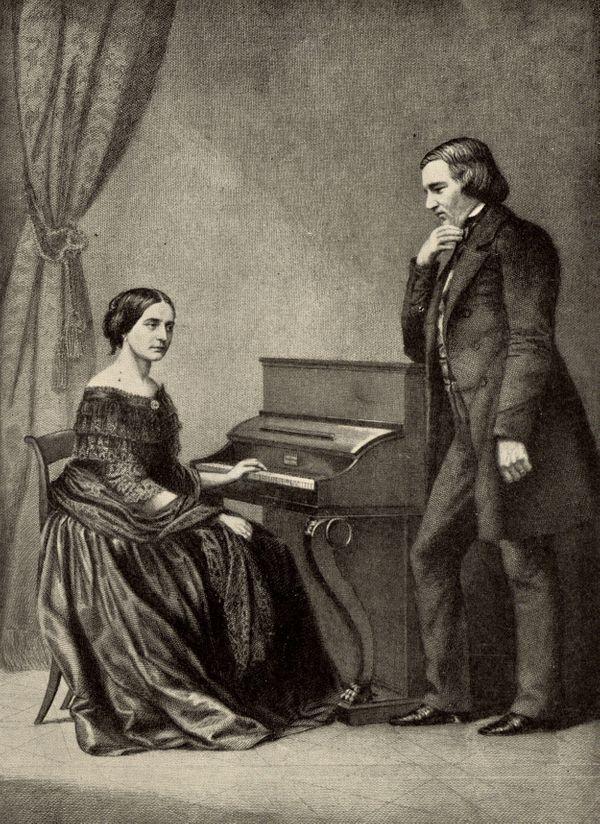 Le couple Schumann avec Clara au piano