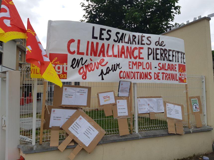 Les salariés de la clinique Clinalliance en grève à Pierrefitte-sur--Seine le 30 mai 2019