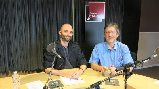 France Musique, studio 131... Le compositeur Florent Caron-Darras & Arnaud Merlin, producteur de l'emission (g. à d.)