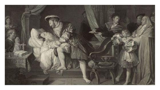 Mort de Léonard de Vinci (estampe). Peint par Ingres; Gravé par Richomme; terminé par Claude Marie François Dien.