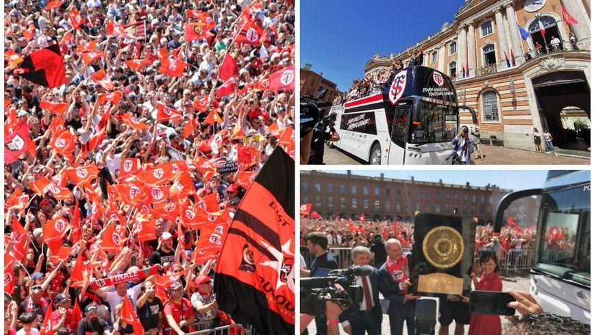La foule sur la place du Capitole pour fêter ses champions et le retour du bouclier de Brennus