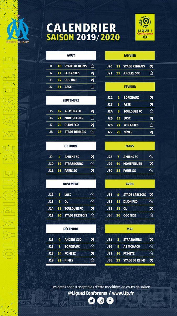 Calendrier Om 2020.Ligue 1 Le Calendrier De L Olympique De Marseille Pour La