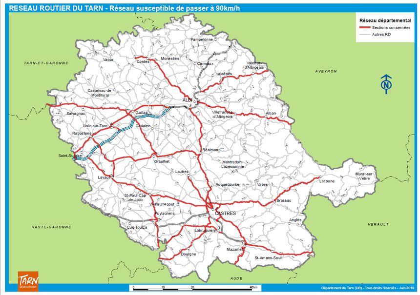Les routes départementales qui repasseraient à 90 km/h dans le Tarn