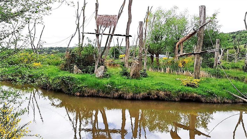 Enclos des siamangs au Parc animalier d'Auvergne
