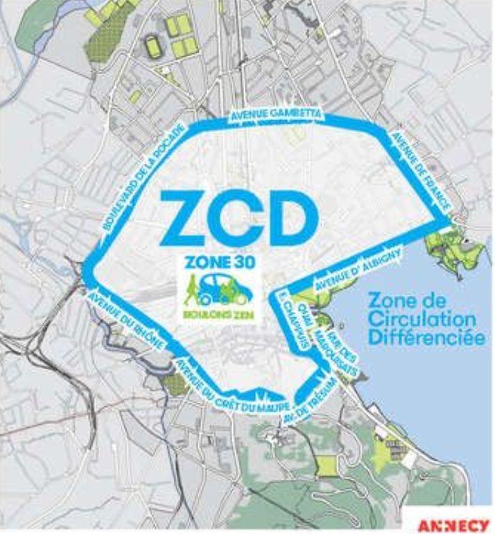 La zone concernée par la circulation différenciée à Annecy