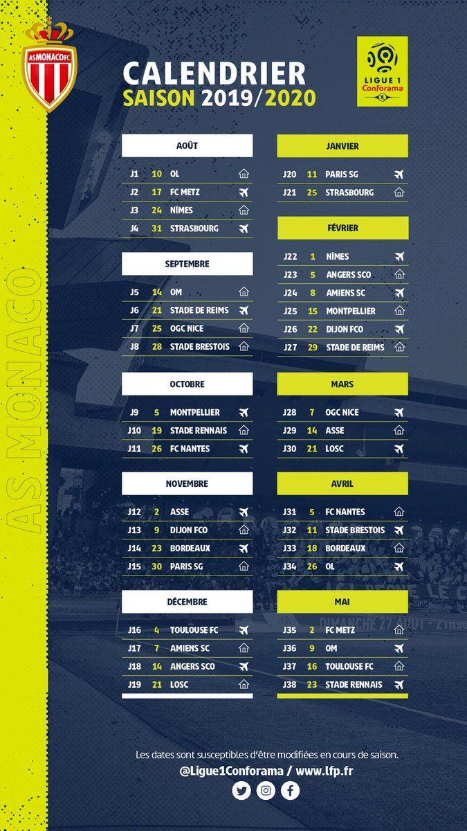 Ligue 1 : le calendrier de l'AS Monaco pour la saison 2019 2020