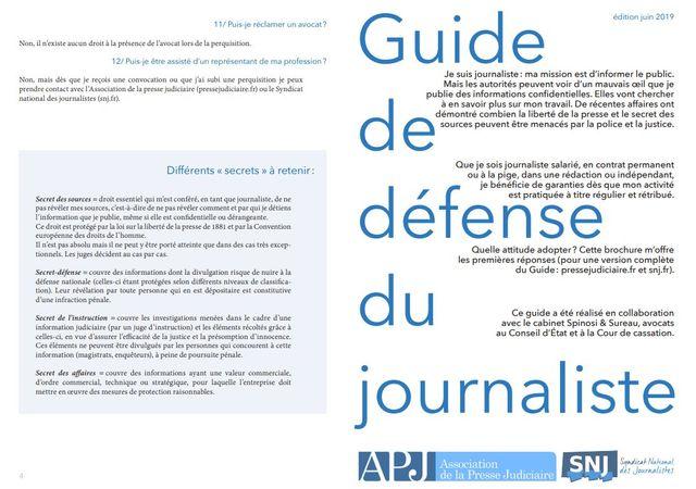 Le guide de défense est disponible sur le site de l'APJ et du SNJ.