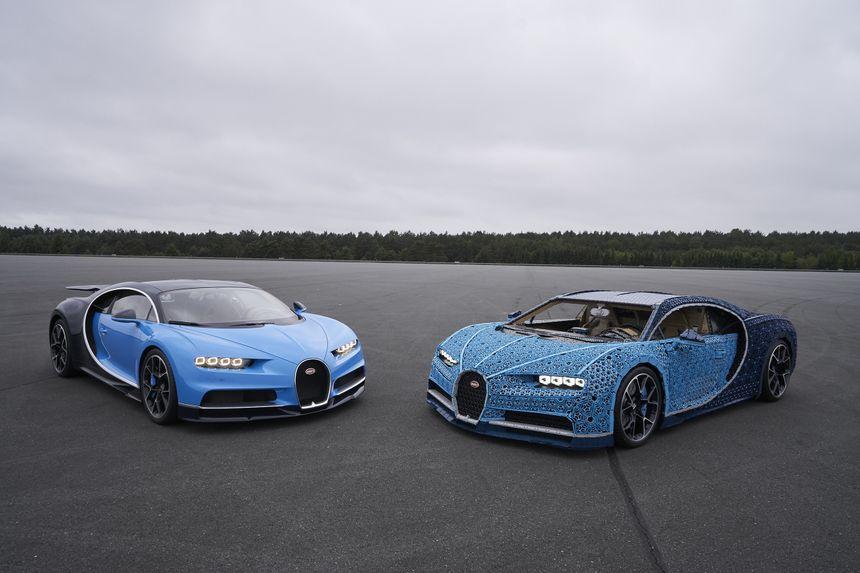 La Bugatti Chiron et sa réplique en Lego.