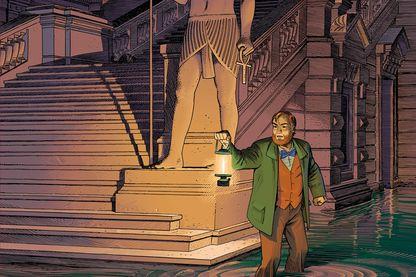 """Détail de la couverture da la bande dessinée """"Le dernier pharaon"""", une aventure de Blake et Mortimer d'après les personnages d'Edgar P Jacobs signée Schuiten, Van Domael, Gunzig et Durieux"""