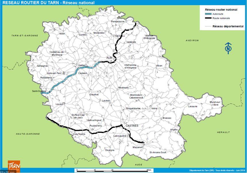 Les routes nationales qui resteront au 80 km/h dans le Tarn