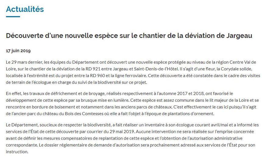 Le Département du Loiret a annoncé ce nouveau rebondissement sur son site Internet