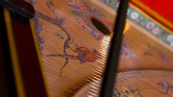 Détail d'un Clavecin - image prise dans le cadre de l'enregistrement des sonates de Scarlatti en Occitanie par France Musique - 20 juillet 2018.