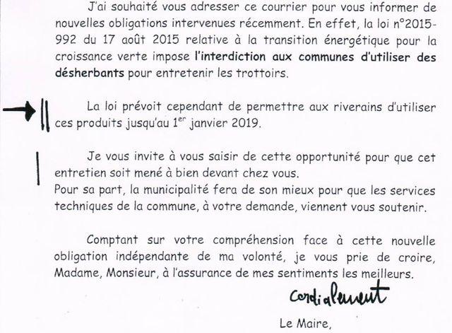 Le courrier adressé par le maire de Richelieu à ses administrés, en octobre 2017.