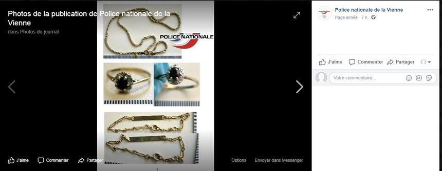 Capture écran de la page facebook de la police nationale de la Vienne