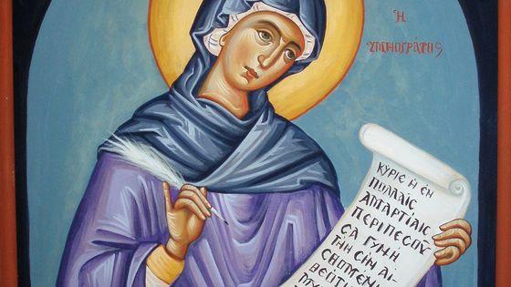 Icone représentant Cassienne de Constantinople, dite Kassia, compositrice, poétesse et hymnographe